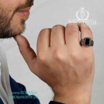 انگشتر-طلاروس-مردانه-طرح-نگین-مشکی