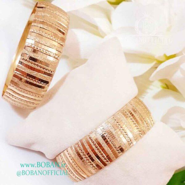 تکپوش طلا روس دو سانتی طرح اینه ای خطی