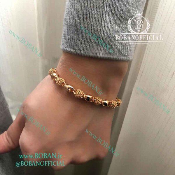 دستبند ژوپینگ توپی طرح طلا مجلسی