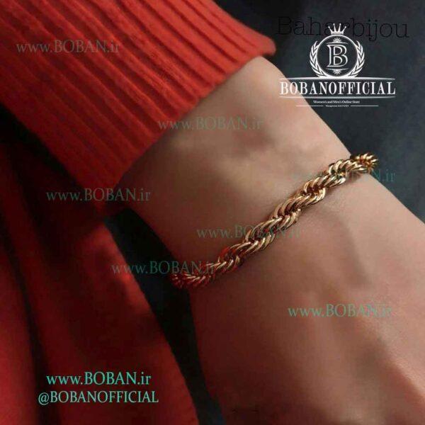 زوپینگ طرح طلا ظریف دو لاین دستبند